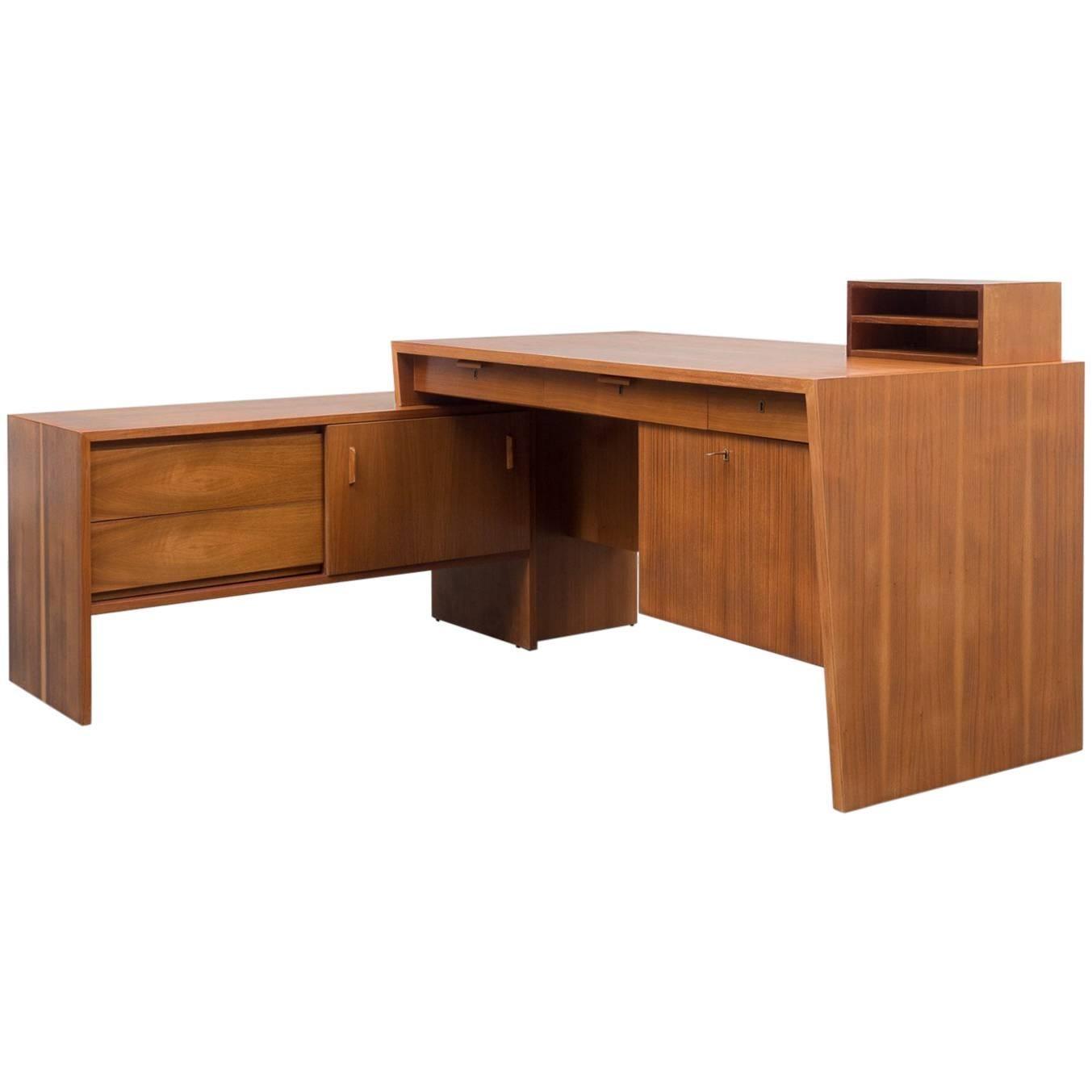 desk from the 1950s walnut lshaped