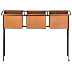 Hans-Agne Jakobsson Flower Table in Copper and Black Lacquered Metal