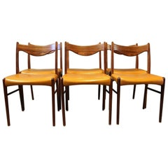 Set of Six Dining Chairs in Rosewood and Upholstered in Yellow Leather