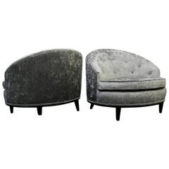 Pair of Mid-Century Barrel Back Slipper Chairs