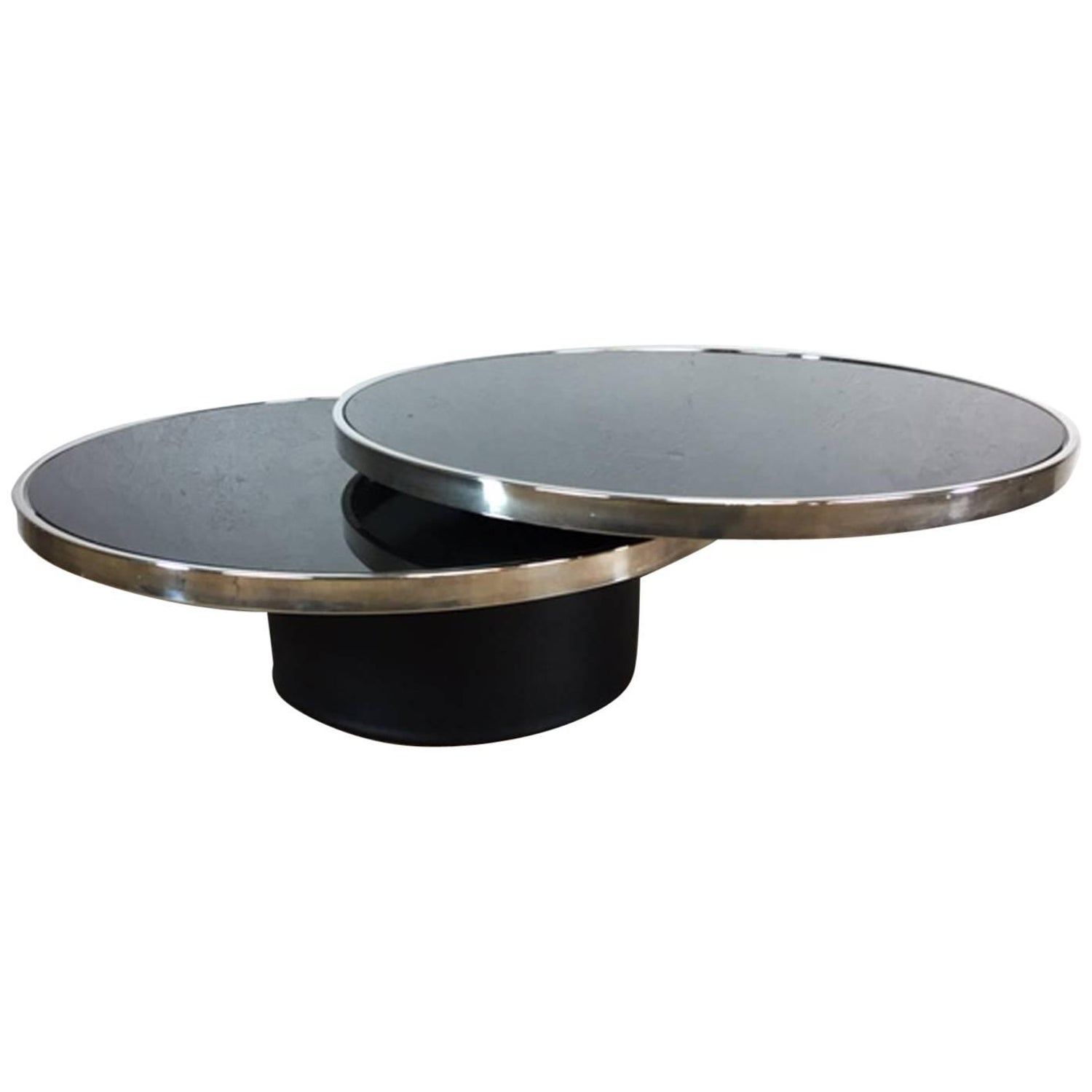Design Institute America Brass Glass Swivel Coffee Table at 1stdibs