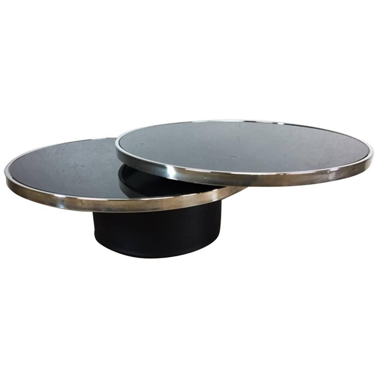Design Institute Of America Dia Black Glass And Chrome Coffee Table For Sale At 1stdibs