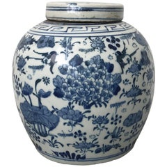 19th Century Asian Blue and White Ginger Jar with Cherry Blossom Tree Motif