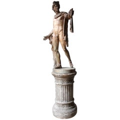 Plaster Figure of the Apollo Belvedere on Plinth Cast by Brucciani under the V&A
