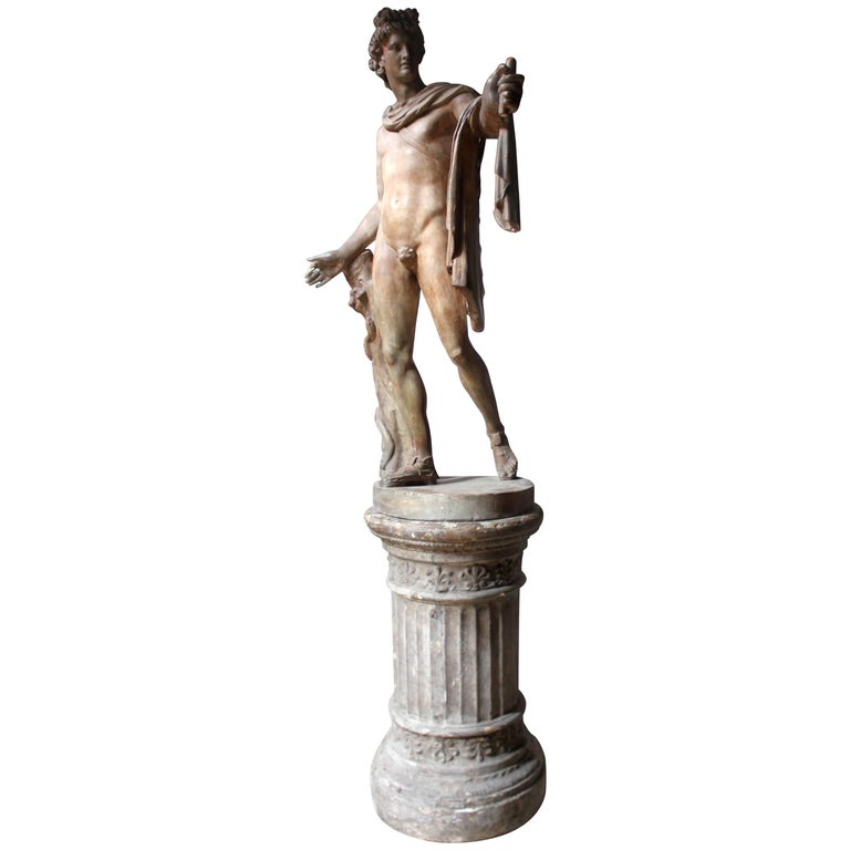 Plaster Figure of the Apollo Belvedere on Plinth Cast by Brucciani under the V&A For Sale