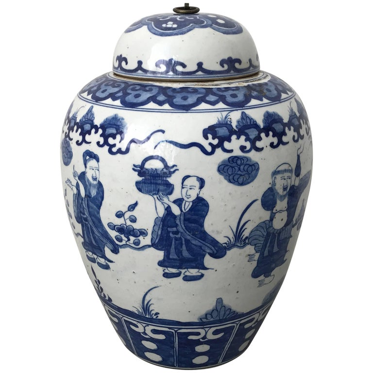 Large Asian Blue And White Ginger Jar Urn With Ornate Scenery Handle For