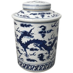 19th Century Blue and White Ginger Jar Urn with Dragon Motif