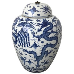 1950s Blue and White Ginger Jar Urn with Dragon Motif