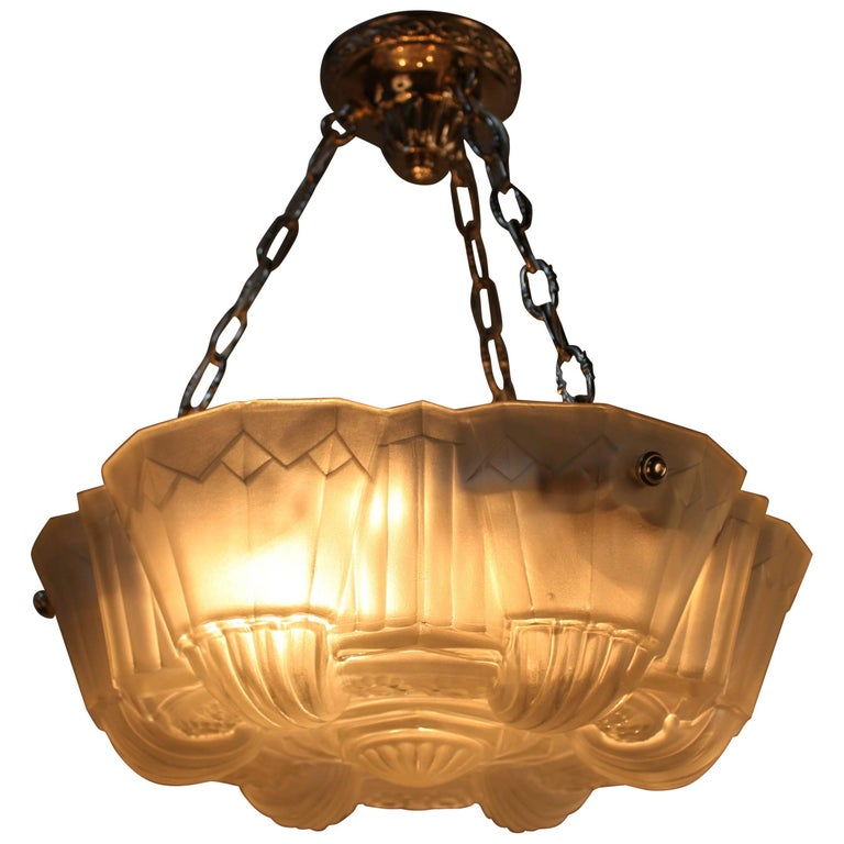 Muller Freres Large French Art Deco Geometric Design Pendant Chandelier For Sale