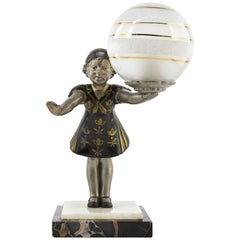 Geo Maxim French Art Deco Table Lamp Sculpture, 1930