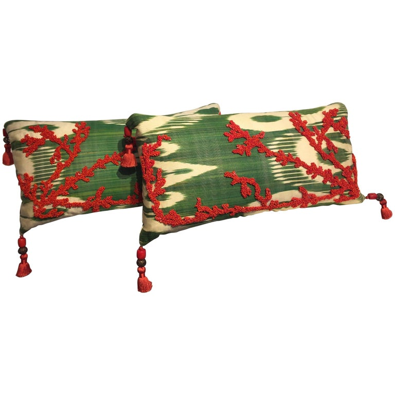 Decorative Silk Cushions Coral in Hand Embroidery on Vintage Ikat