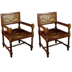 19th Century Antique Swedish Folk Art Carver Chairs in Kurbits Faux Wood Grain