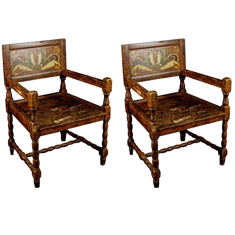 Antique Swedish Folk Art Countrry Carver Chairs in Kurbits Faux Wood Grain  For Sale - Antique Swedish Folk Art Countrry Carver Chairs In Kurbits Faux Wood