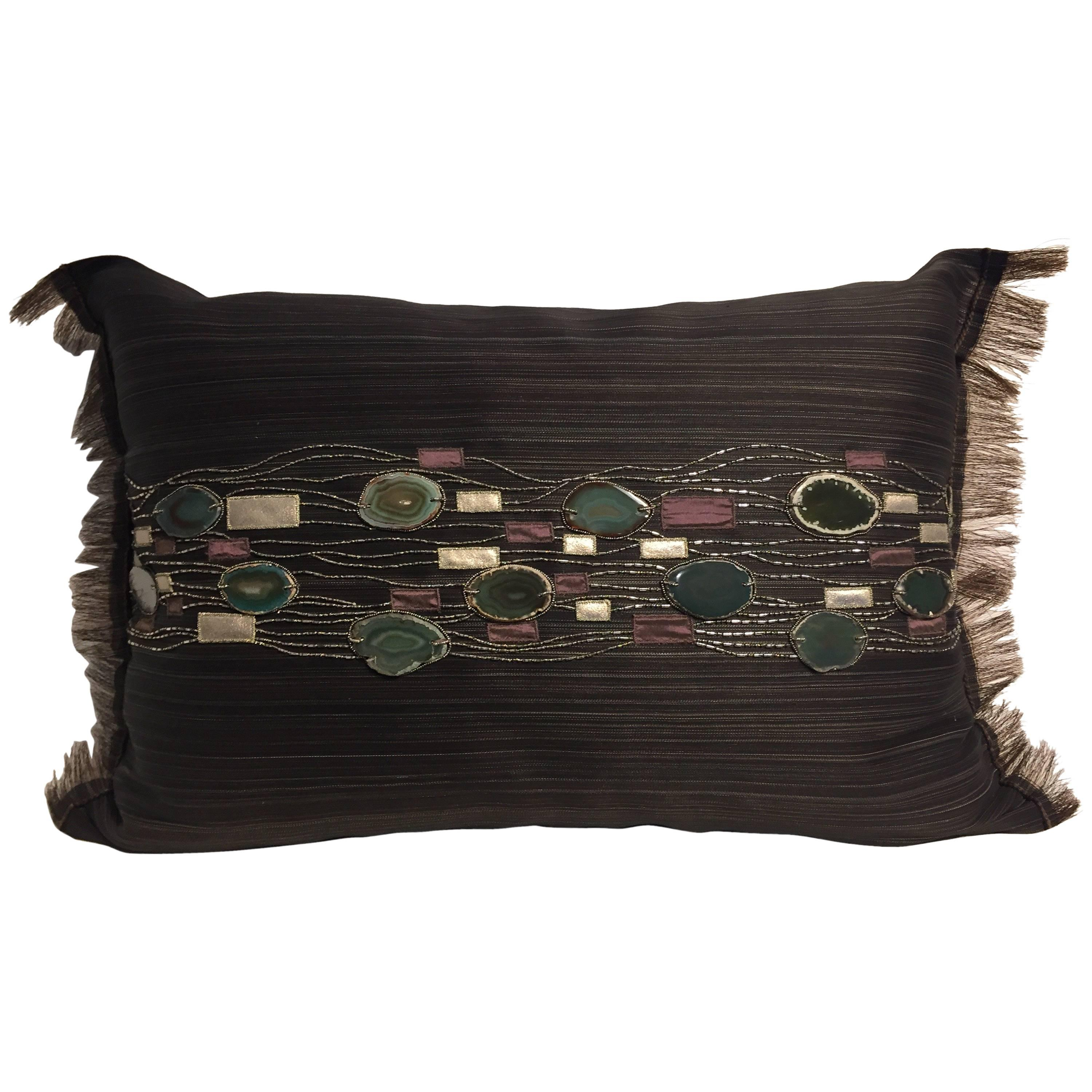 Decorative Cushion Hand Embroidery With Agate Stones on Horsehair