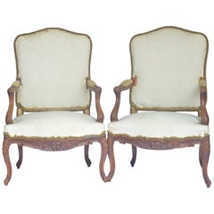 French Antique Bergere Fauteuil Armchairs Rococo Carved Upholstered 19th Century