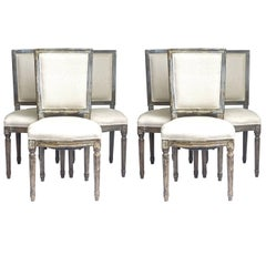 Gustavian Square Back Dining Chairs Set of Six Webbed Seats Mid-20th Century