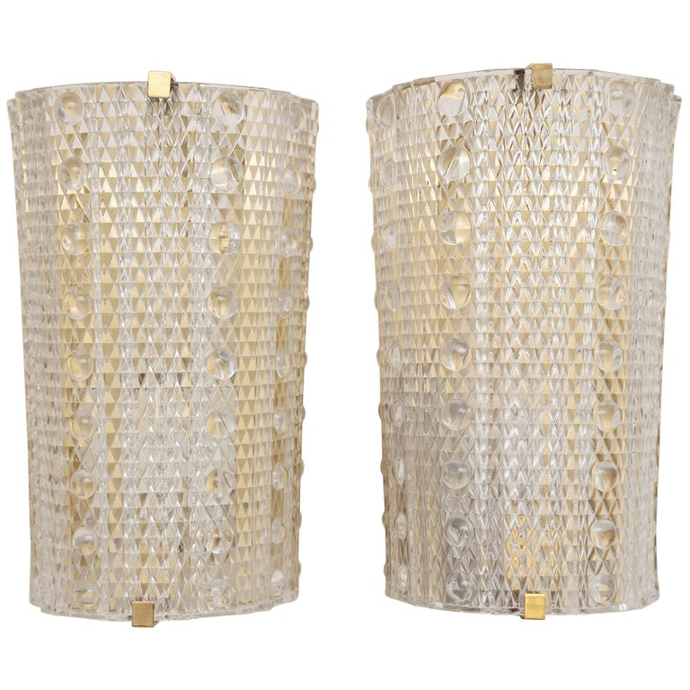 Pair Orrefors Crystal Wall Sconces by Carl Fagerlund, circa 1960s