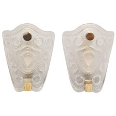Pair of Orrefors by Carl Fagerlund Shield Crystal Wall Sconces, circa 1960s