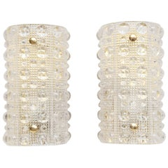 Pair of Carl Fagerlund for Orrefors Sweden Crystal Wall Sconces, circa 1960s
