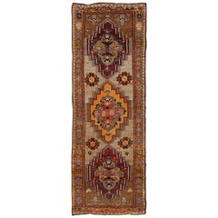 Vintage Turkish Oushak Runner with Three Medallions in Maroon, Gold, and Taupe