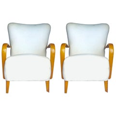 Art Deco Swedish Antique Armchairs Early 20th Century Honey Color Modern