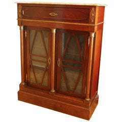 19th Century Mahogany Bookcase or Vitrine Cabinet with Marble Top