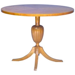 Biedermeier Swedish Round Table Tiger Stripe Golden Birch Honey 19th Century