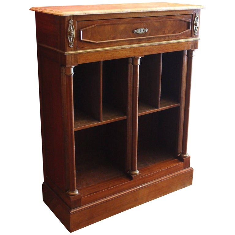 19th Century French Mahogany Bookcase of Narrow Proportion with Marble Top