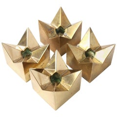 Four Brass Star Candleholders Designed by Pierre Forssell for Skultuna, 1960s