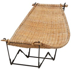John Risley Lounge Chair Duyan Rattan, 1950s