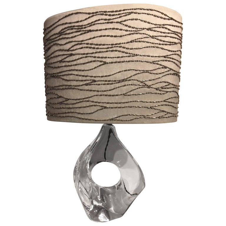 Daum France Table Light with Hand Embroidered Silk Lampshade For Sale