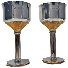 Pair Mid Century Sterling Silver Gilt Goblets, London, 1978 Wakely and Wheeler