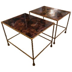Very Glamorous Pair of Brass Tassel Motife and Faux Tortoise Side Tables