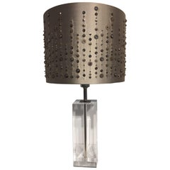 Guzzini Italy Table Light Plexiglass with Hand Embroidered Silk Lampshade