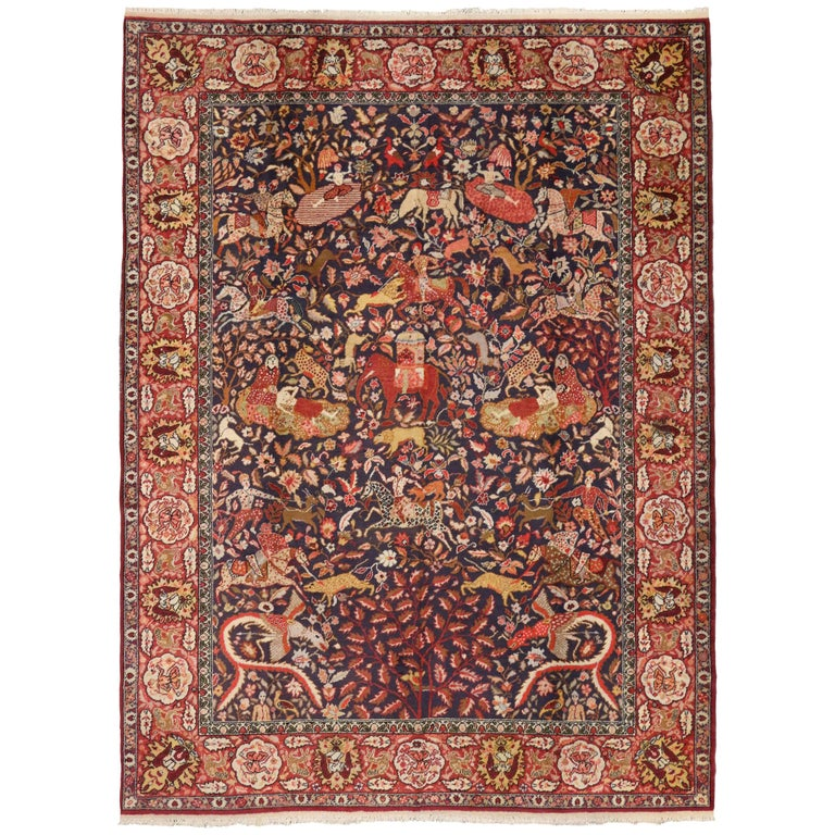Antique Agra Indian Rug With Royal Howdah And Hunting