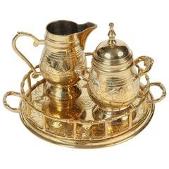 Vintage Engraved Brass Cream and Sugar Set
