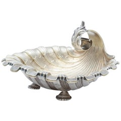 Art Nouveau Sterling Silver Gilt Footed Shell Form Dish