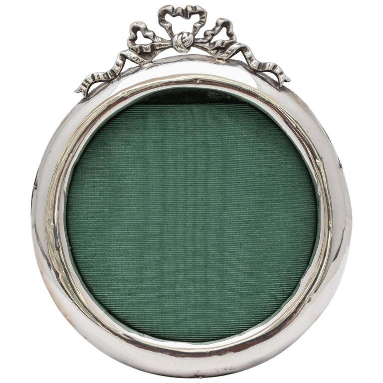Victorian Sterling Silver Round Picture Frame with Bow Finial