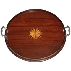 Edwardian Sheraton-Style Round Wood Serving Tray with Silver Plated Handles