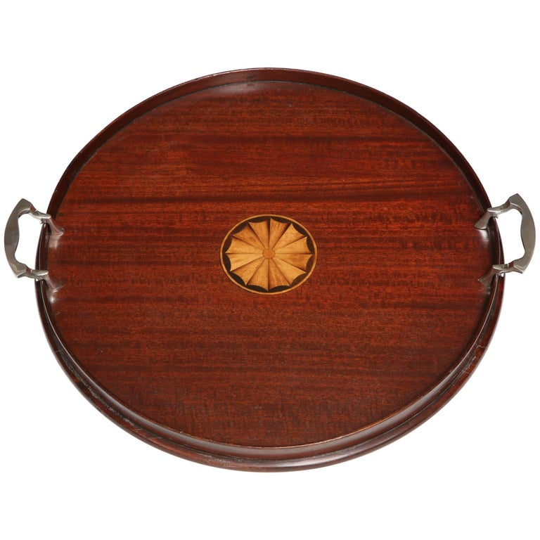 Edwardian Sheraton Style Round Wood Serving Tray With Silver Plated Handles For