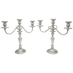 Pair of Empire-Style Sterling Silver Candelabra