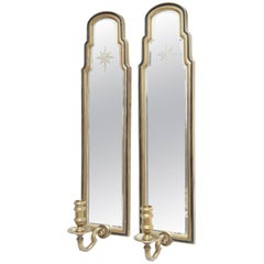 Pair of Etched Starburst Mirrored Sconces by Chapman