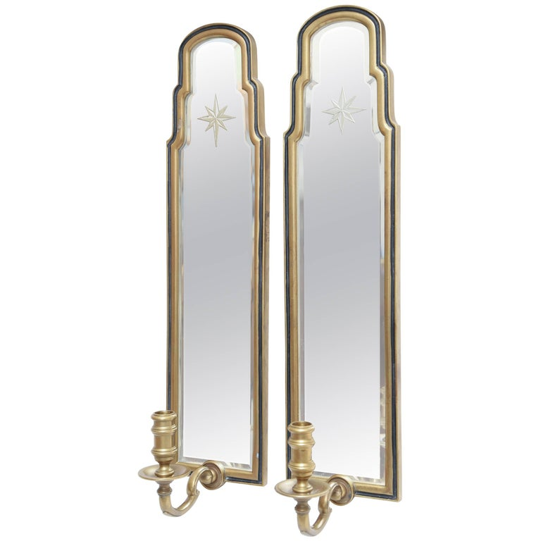 Pair of Etched Starburst Mirrored Sconces by Chapman For Sale