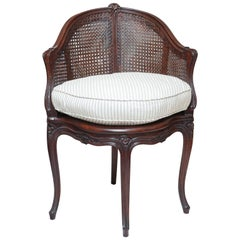 Louis XV Style Corner Double Caned French Armchair