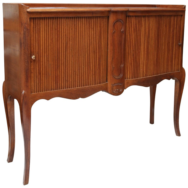 Louis XV Style French Console with Tambour Doors