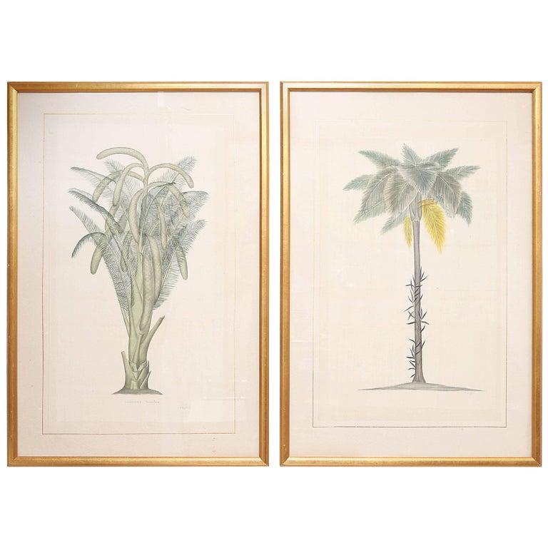 Pair of Original Watercolors on Silk by La Roche Laffitte