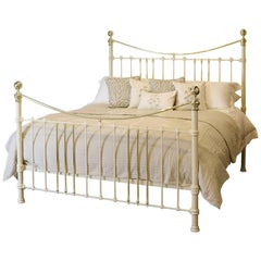 Wide Brass and Iron Bed in Cream MSK39