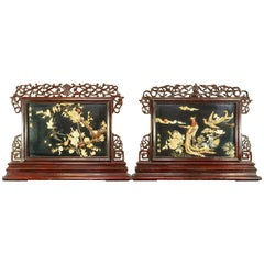 Pair of Large Chinese Republic Period Hardstone Jade Mounted Reversible Screens