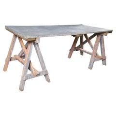 Zinc Top Saw Leg Table
