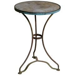 French Marble-Top Bistro Table on Iron Base, circa 1910